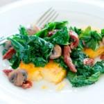 Kale, Mushroom Polenta
